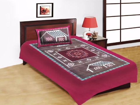 Odisha Handloom Pink and Brown Single Bed Sheet with Pillow Cover P1