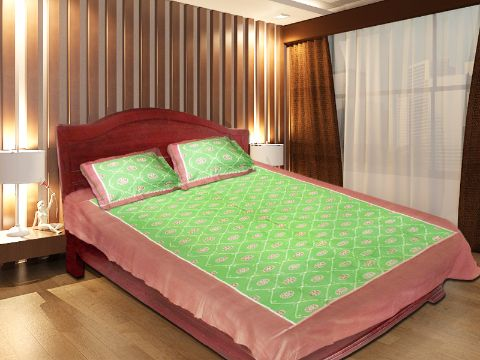 Odisha Sambalpuri Green and Brown Double Bed Sheet with Pillow Cover