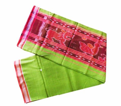 Colourful cotton gamuchha greeen 4 hati  design