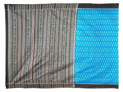 Sambalpuri Hand Woven Sky Blue and Black Color Saree pic-1