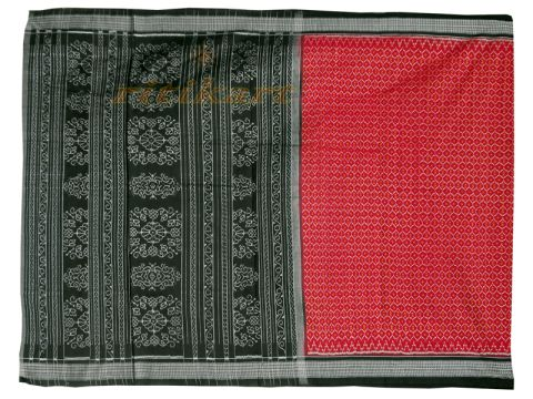 Red Color with Black and White Border Saree with Blouse Piece P1