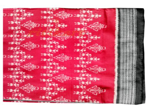 Sambalpuri Hand Woven Red Black saree with Blouse