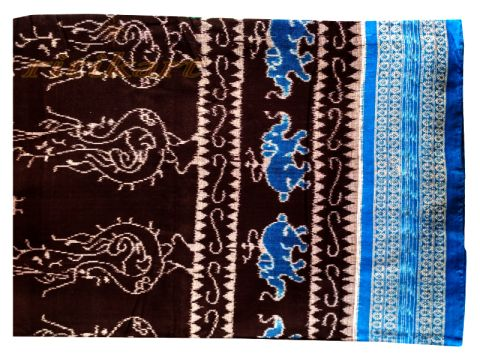 Sambalpuri Hand Woven Black Blue Tribal design saree with Blouse