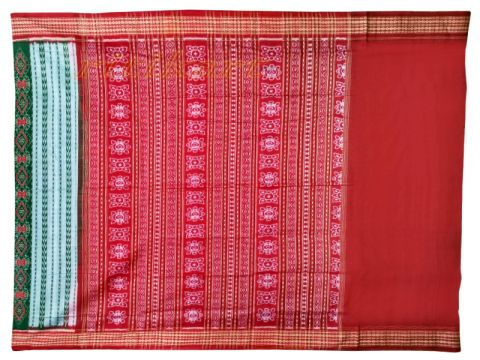 Sambalpuri Hand Woven Green Red saree with Blouse