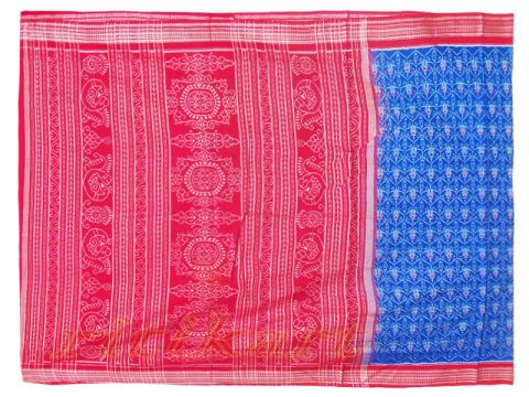 Sambalpuri Red and Blue Color Saree P1