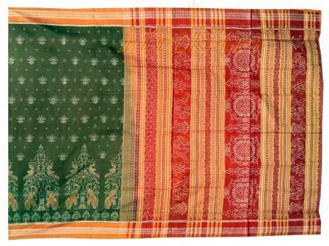 Sambalpuri Brown Elephant design Saree with Blouse