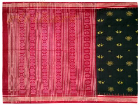 Sambalpuri Goldenblack and red design Saree with Blouse