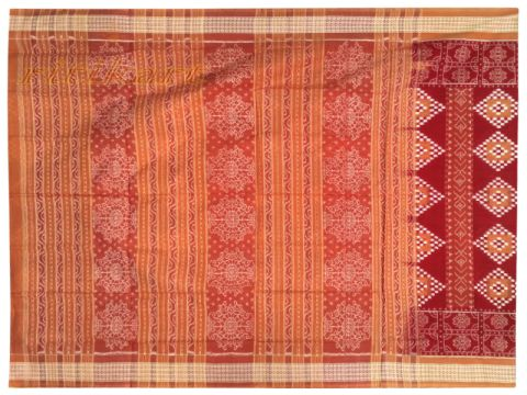 Sambalpuri Chek red and Brown design Saree with Blouse