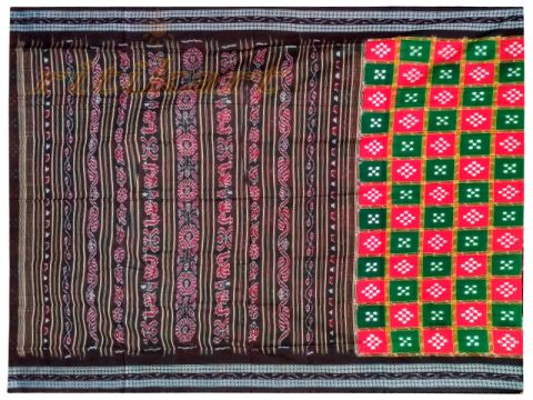 Sambalpuri box Design Red and Green Saree with Blouse
