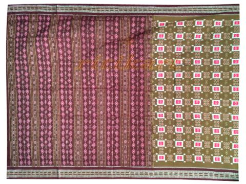 Sambalpuri Plan box red white and pink design Saree with Blouse