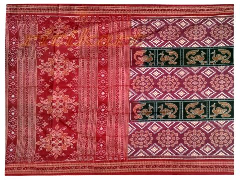 Sambalpuri Red and Grey with Bird design Saree with Blouse