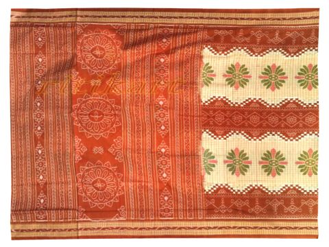 Sambalpuri White and Orange with bird design Saree with Blouse