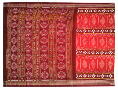 Sambalpuri Red and Maroon design Saree with Blouse