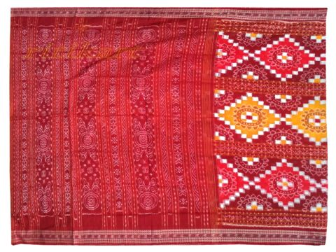 Sambalpuri Red and white Jhoti design Saree