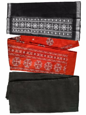 Orange and Black color Sambalpuri Salwar Suit Material