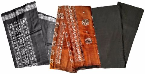 Sambalpuri Unstitched Brown and Black color Salwar Suit Material