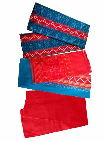 Red And Sky Blue Color Sambalpuri Salwar Suit Material