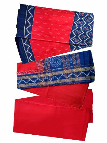 Sambalpuri Red And Sky Blue Color Salwar Suit