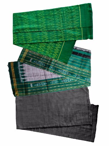 Green and Black Color Sambalpuri Salwar Suit Material