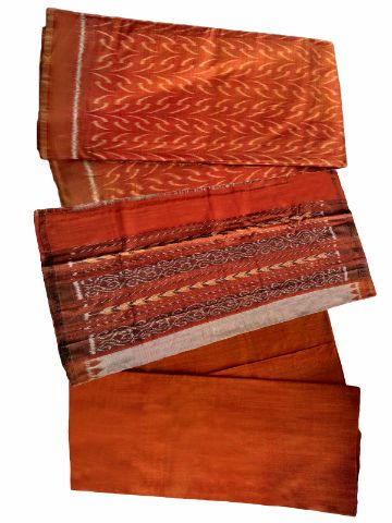 Sambalpuri Salwar Suit Material Brown and Orange color