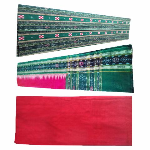 Sambalpuri Pasapali Salwar Suit Material Green and Red  Color p-1