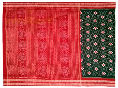 Sambalpuri Hand Woven Dark Green and red Sapta Lata Design saree
