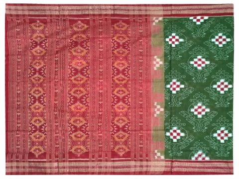Sambalpuri Hand Woven Green Dark Brown with Flower Design saree