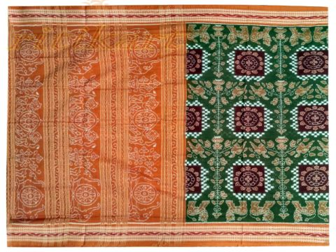 Sambalpuri Hand Woven Mehendi Brown with lion and duck Design sareee