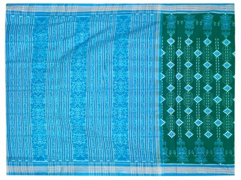 Sambalpuri Hand Woven Sapta Dark Green with sky border Design saree