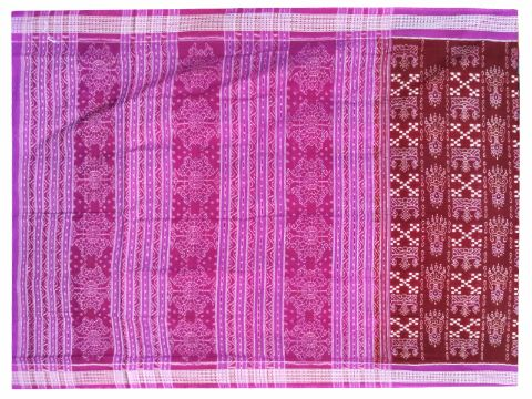 Sambalpuri Hand Woven Sapta Brown with Pink border Design saree