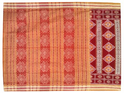 Sambalpuri Hand Woven Maroon and Orange sapta Flower Design saree