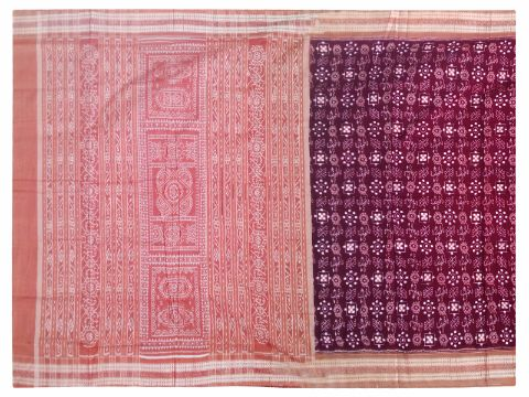 Sambalpuri Hand Woven Dark Red sapta flower Design saree