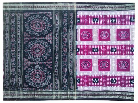 Sambalpuri Hand Woven Sapta Pink Grey Design saree with Blouse piece