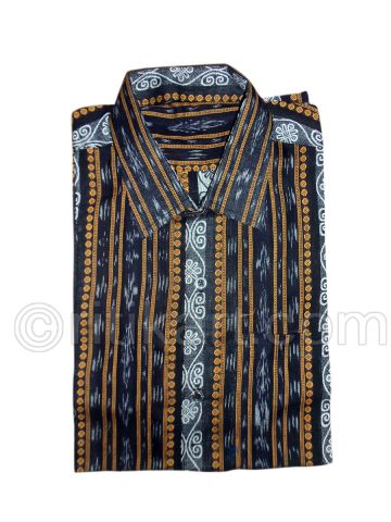 Black Color Sambalpuri Handloom Cotton Half shirt