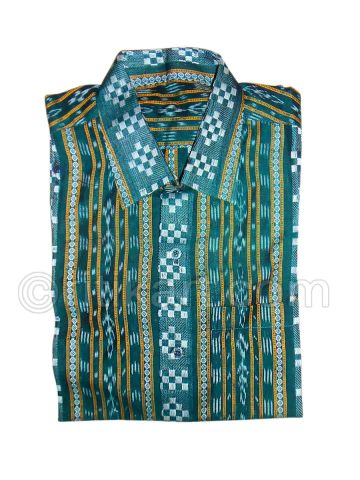 Dark Green Color Sambalpuri Handloom Cotton Half Shirt