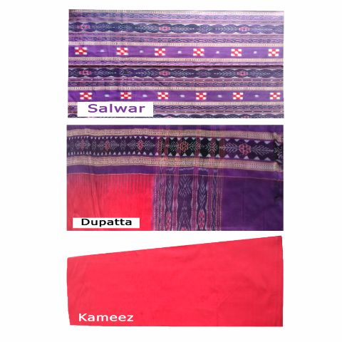 Sambalpuri Pasapali Salwar Suit Material Violet  and Red  Color  p-1