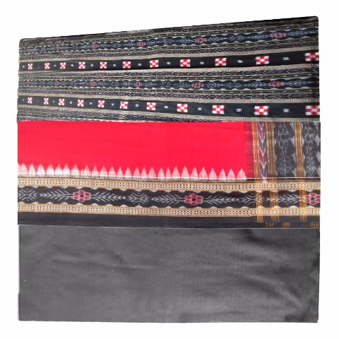 Sambalpuri Pasapali Salwar Suit Material Black and Red Color p-1
