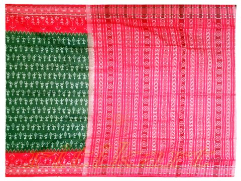 Sambalpuri Hand Woven feded Leaf and Red Colour Design saree