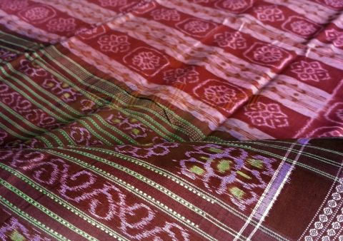 Sambalpuri Hand Woven Pink and Maroon Strip Design Saree
