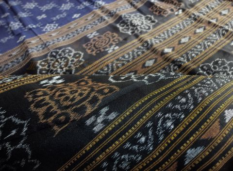 Sambalpuri Cotton Saree in Blue Color Body and Black Anchal