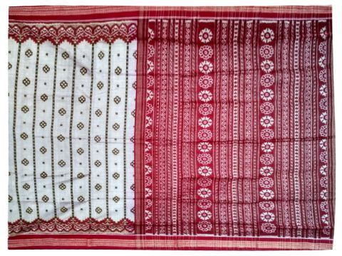 Sambalpuri Hand Woven Grey with Maroon Anchal Design Saree