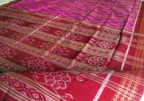 Exclusive Sambalpuri Hand Woven Purple and Maroon Strip Design Saree
