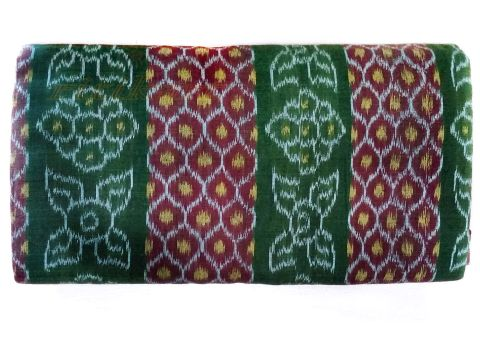 Sambalpuri Hand Woven Feded Leaf Green and Maroon Design Saree