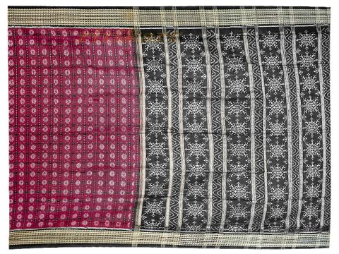Sambalpuri Deep Maroon and Black Anchal Design Saree