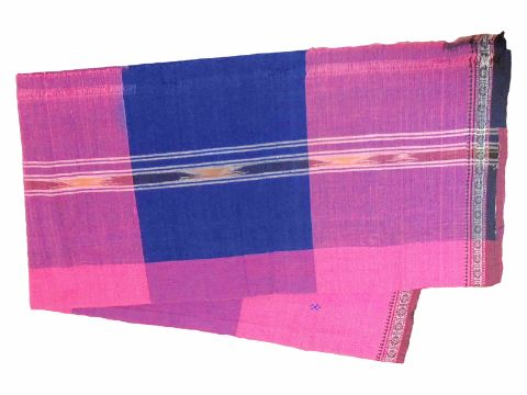 Khurda Gamucha Pink and Blue colour Check  90 Cm X 180 CMS