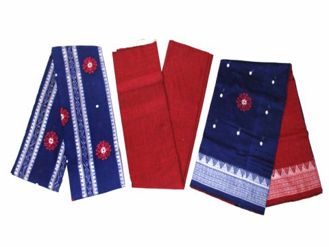 Sambalpuri Cotton Salwar Suit Material Blue and Red Color