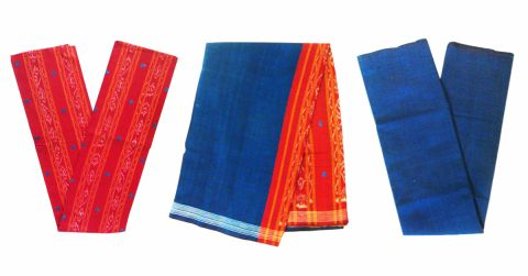 Sambalpuri Cotton Salwar Suit Material Maroon and Blue Color