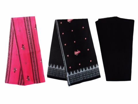 Sambalpuri Cotton Salwar Suit Material Black and Pink Color