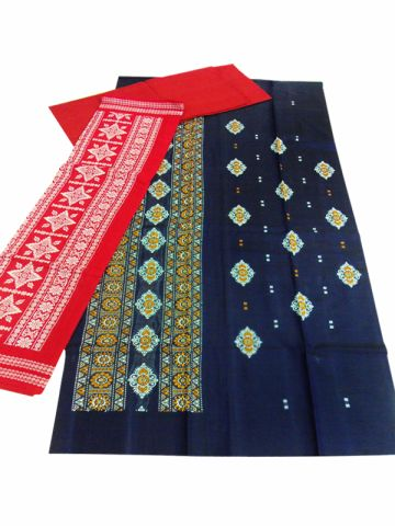 Sambalpuri Cotton Salwar Suit Material Black and red Color