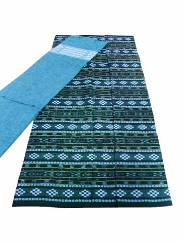 Sambalpuri Cotton Salwar Suit Material Green and sky blueColor,